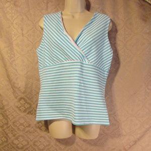 XL Sleeveless Stretch Top Blue/White Striped